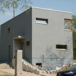 Flachdachhaus in Grau Eingang