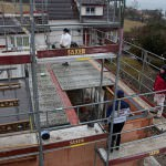 Dach Bauarbeiten im Regen