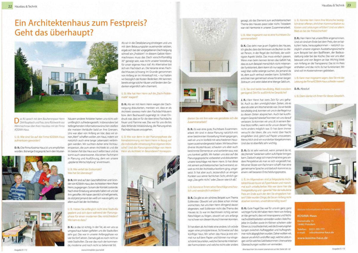 Immobilienjournal Bauherreninterview Kosima