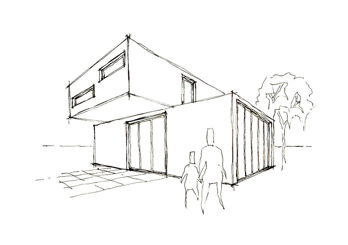 Skizze von modernem Architektenhaus